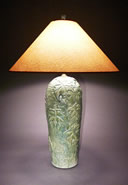 Handmade ceramic  lamp with green glaze