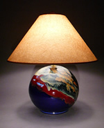 Handmade ceramic lamp with blue glaze