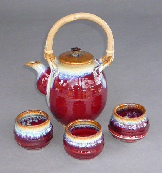 Handmade Copper Red Tea Pot and Tea Cups