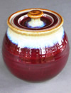 Copper Red Handmade Ceramic Pottery Cookie Jar